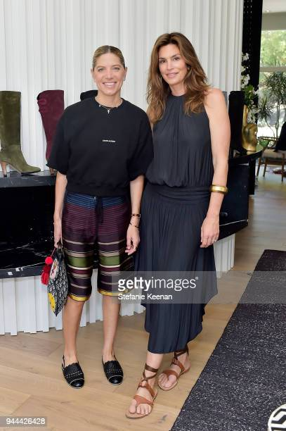 Petra Flannery and Cindy Crawford attend Cindy Crawford x Sarah Flint celebrate the Sarah Flint spring footwear collection at a private residence on...