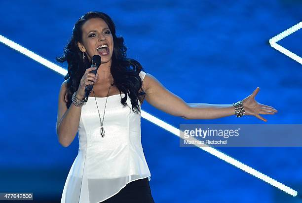 Petra Frey performs during the open air tv show 'Schlager des Sommers' at Wasserschloss Klaffenbach on June 18 2015 in Chemnitz Germany