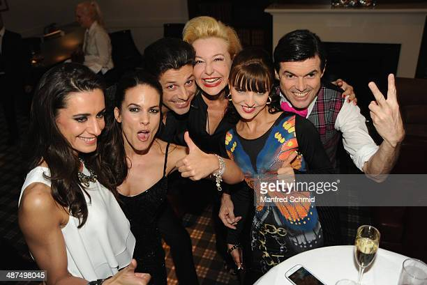 Petra Frey Thomas Kraml Andrea Buday and Hubert Neuper attend the 'Dancing Stars' presscall at Parkhotel Schoenbrunn on April 30 2014 in Vienna...
