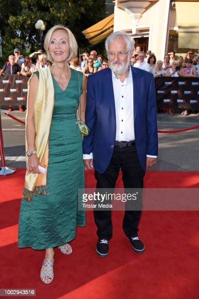 Petra Gerster and her husband Christian Nuernberger attend the Nibelungen Festival Opening Night and premiere of 'Siegfrieds Erben' at Domplatz on...