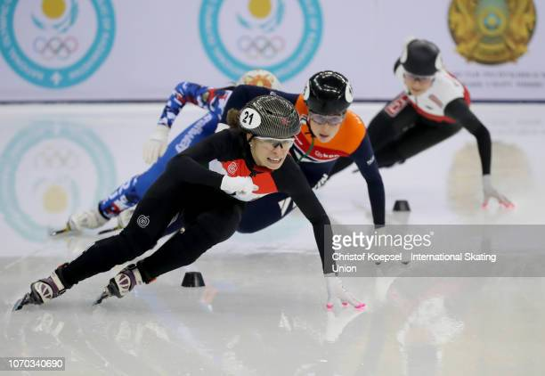 Petra Jaszapati of Hungary sakes in front and won during the ladies 500 meter final race A during the ISU Short Track World Cup Day 2 at Halyk Arena...
