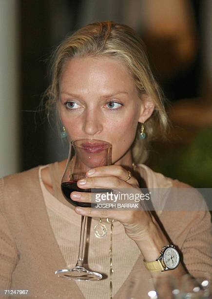 US actress Uma Thurman attends a dinner a day before attending the twoday Second Petra Conference of Nobel Laureates hosted by Jordan's King Abdullah...