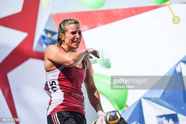 Petra Klinger of Switzerland during the World Championship Final Climbing at AccorHotels Arena on September 18 2016 in Paris France
