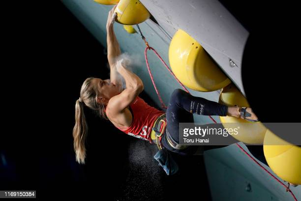 Petra Klingler of Switzerland competes in the Lead during Combined Women's Final on day ten of the IFSC Climbing World Championships at the Esforta...