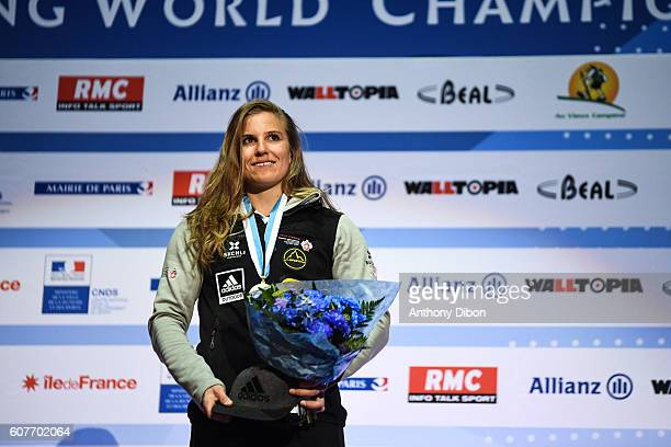 Petra Klingler of Switzerland during the World Championship Final Climbing at AccorHotels Arena on September 18 2016 in Paris France
