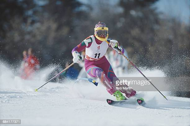 Petra Kronberger of Austria skiing in the Women's Slalom event during the XVI Olympic Winter Games on 20 February 1992 in Meribel, Albertville,...