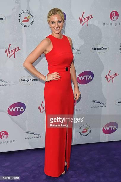 Petra Kvitova arrives for the WTA PreWimbledon Party at Kensington Roof Gardens on June 23 2016 in London England