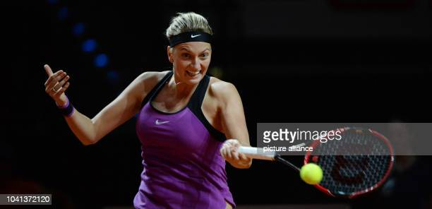 Petra Kvitova from Chech Republic in action against Muguruza from Spain during the quarter finals of the WTA tournament in Stuttgart Germany 22 April...