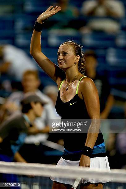 Petra Kvitova of Cezch Republic acknowledges the crowd after her win over Sara Errani of Italy during the semifinals of the New Haven Open at Yale at...