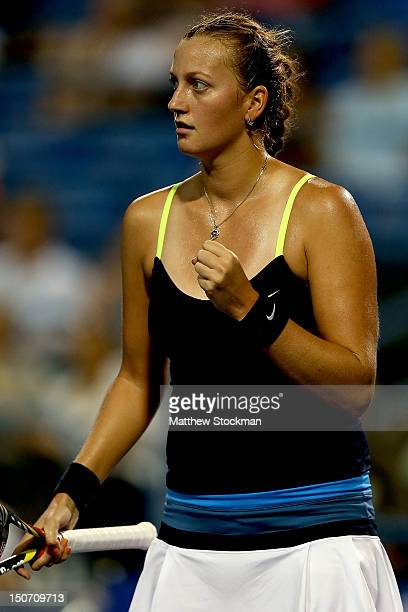 Petra Kvitova of Cezch Republic celebrates a point against Sara Errani of Italy during the semifinals of the New Haven Open at Yale at the...