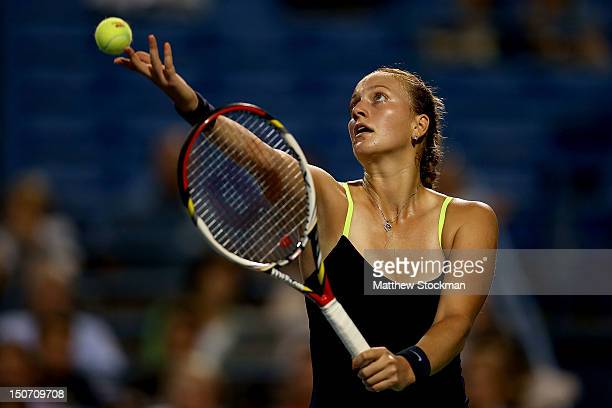 Petra Kvitova of Cezch Republic serves to Sara Errani of Italy during the semifinals of the New Haven Open at Yale at the Connecticut Tennis Center...