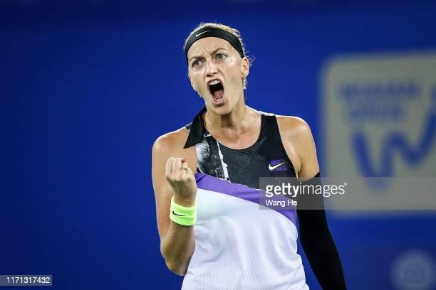 Petra Kvitova of Czech celebrates after winning the match against Dayana Yastremska of Ukraine on Day 5 of 2019 Dongfeng Motor Wuhan Open at Optics...