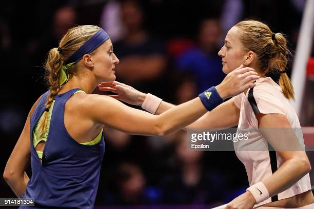 Petra Kvitova of Czech Republic and Kristina Mladenovic of France after St Petersburg Ladies Trophy 2018 final tennis match on February 4 2018 in...