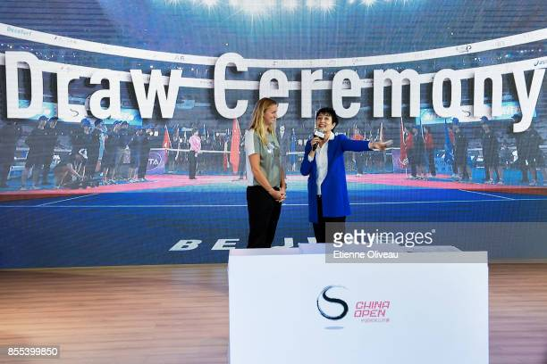 Petra Kvitova of Czech Republic attends a Draw ceremony at the Mercedes Benz booth during the preview day of the 2017 China Open at the China...