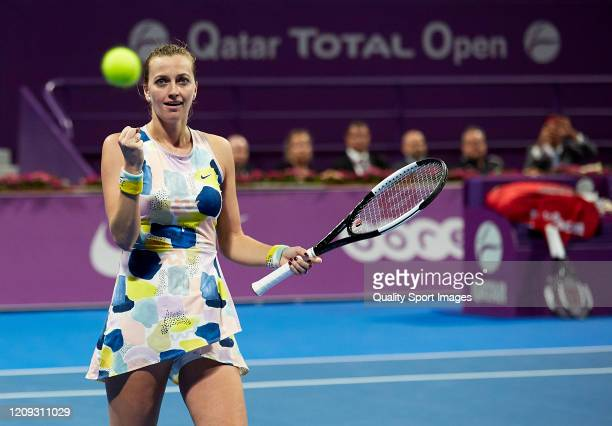 Petra Kvitova of Czech Republic celebrates a match point against Ashleigh Barty of Australia during day six of the WTA Qatar Total Open 2020 at...