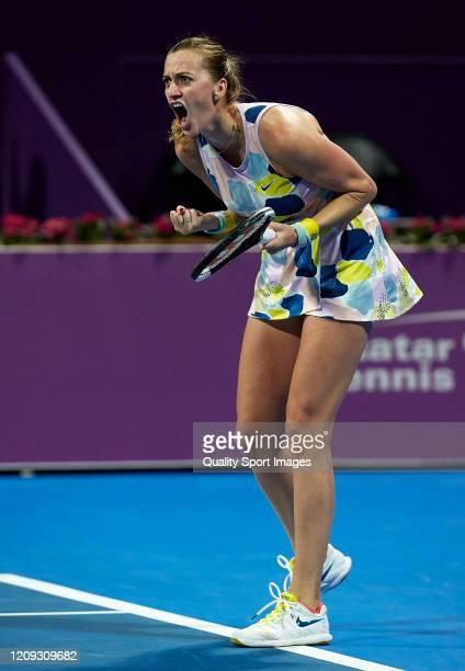 Petra Kvitova of Czech Republic celebrates a point against Ashleigh Barty of Australia during day six of the WTA Qatar Total Open 2020 at Khalifa...