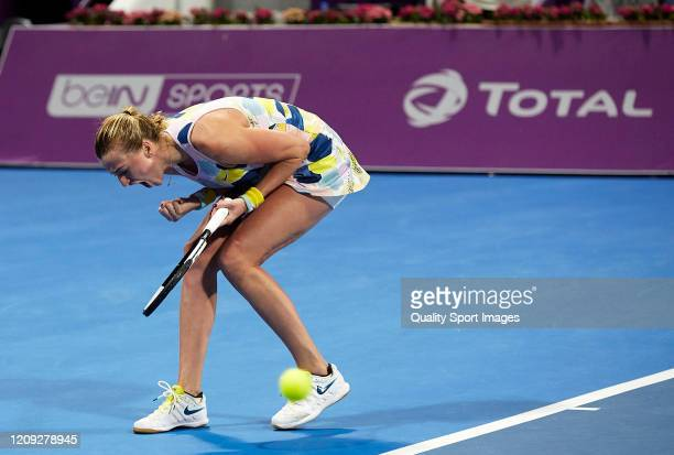 Petra Kvitova of Czech Republic celebrates a point against Ons Jabeur of Tunisia during day five of the WTA Qatar Total Open 2020 at Khalifa...