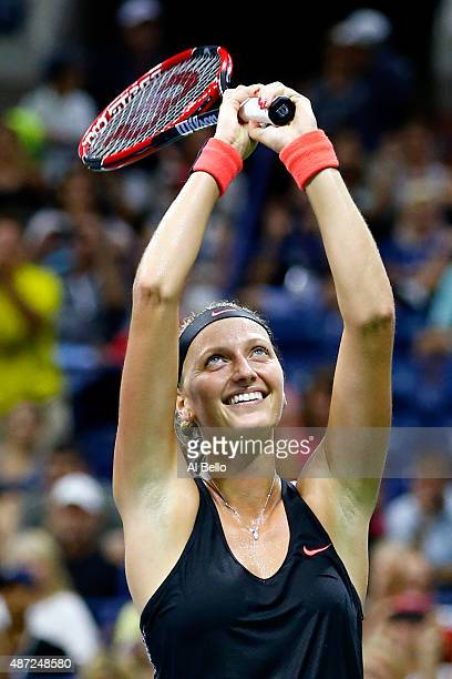 Petra Kvitova of Czech Republic celebrates after defeating Johanna Konta of Great Britain during their Women's Singles Fourth Round match on Day...