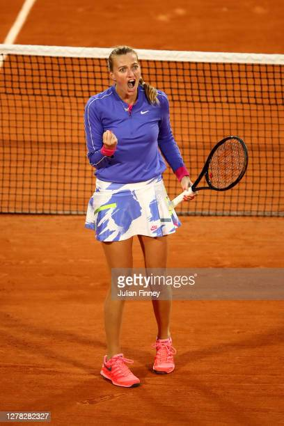 Petra Kvitova of Czech Republic celebrates after winning a point during her Women's Singles third round match against Leylah Fernandez of Canada on...