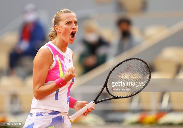 Petra Kvitova of Czech Republic celebrates after winning a point during her Women's Singles semifinals match against Sofia Kenin of The United States...