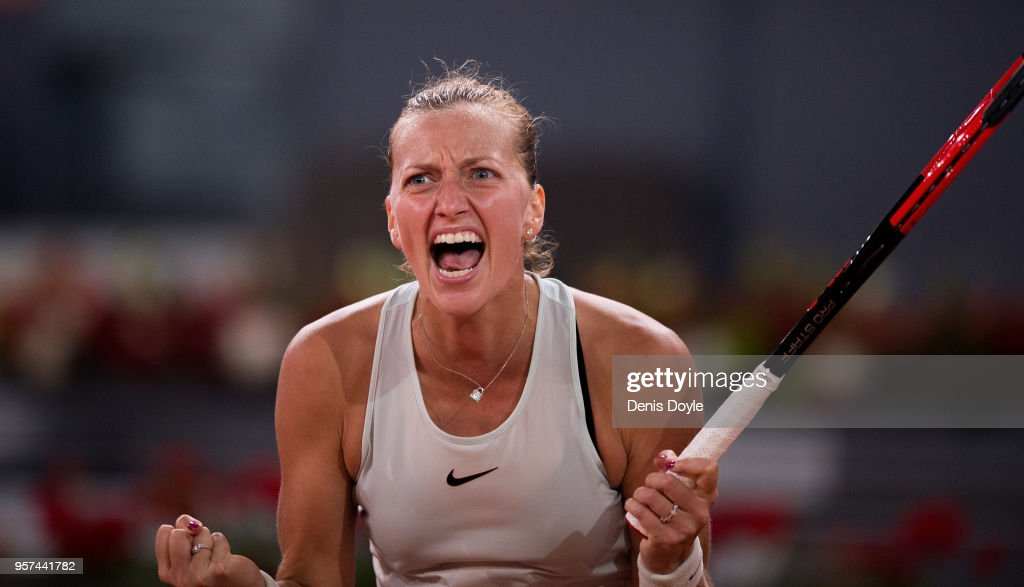 Petra Kvitova of Czech Republic celebrates after winning a point over Karolina Pliskova of Czech Republic in her semifinal match during day seven of Mutua Madrid Open at the Caja Magica on May 11, 2018 in Madrid, Spain.