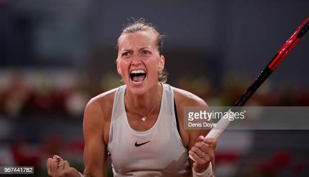 Petra Kvitova of Czech Republic celebrates after winning a point over Karolina Pliskova of Czech Republic in her semifinal match during day seven of...
