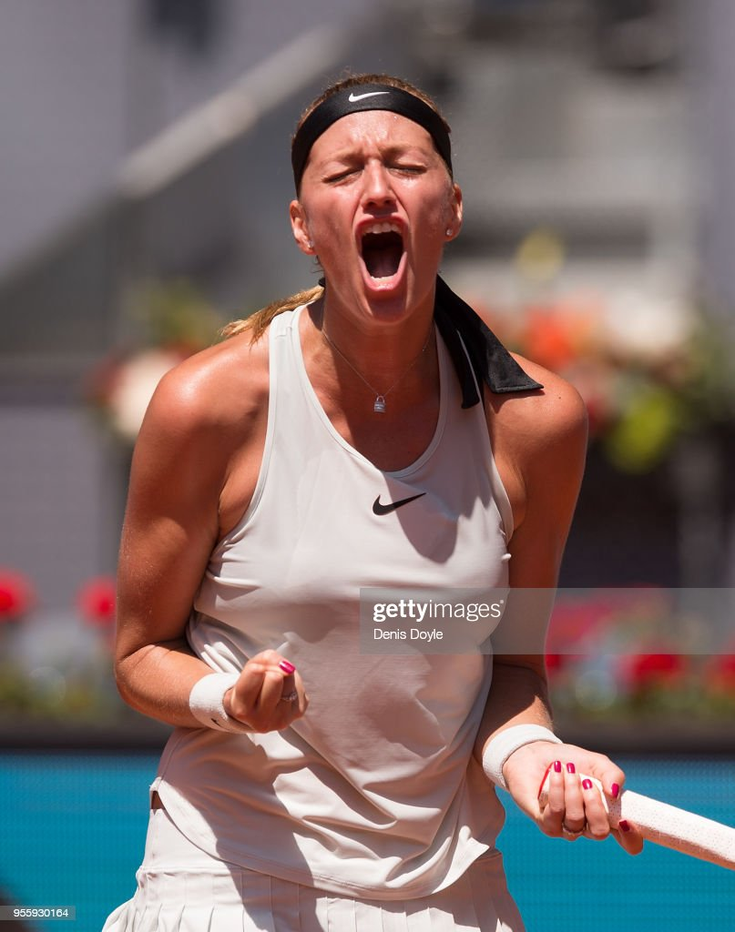 Petra Kvitova of Czech Republic celebrates after winning a point against Monica Puig of Puerto Rico in the 2nd Round during day four of the Mutua Madrid Open tennis tournament at the Caja Magica on May 8, 2018 in Madrid, Spain.