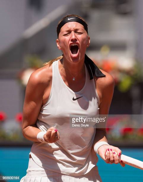 Petra Kvitova of Czech Republic celebrates after winning a point against Monica Puig of Puerto Rico in the 2nd Round during day four of the Mutua...