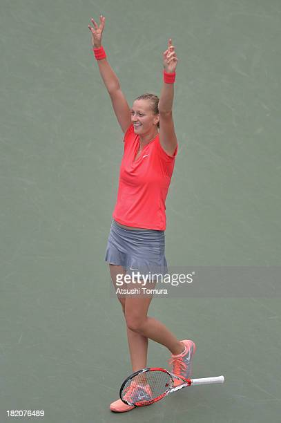 Petra Kvitova of Czech Republic celebrates after winning her women's singles final match against Angelique Kerber of Germany during day seven of the...