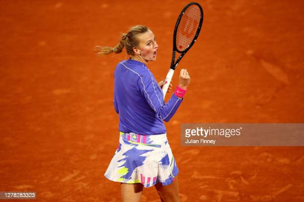 Petra Kvitova of Czech Republic celebrates after winning match point during her Women's Singles third round match against Leylah Fernandez of Canada...