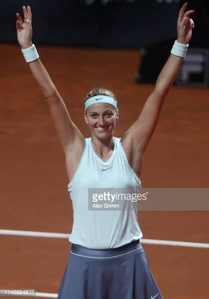 Petra Kvitova of Czech Republic celebrates after winning the final match against Anett Kontaveit of Estonia on day 7 of the Porsche Tennis Grand Prix...