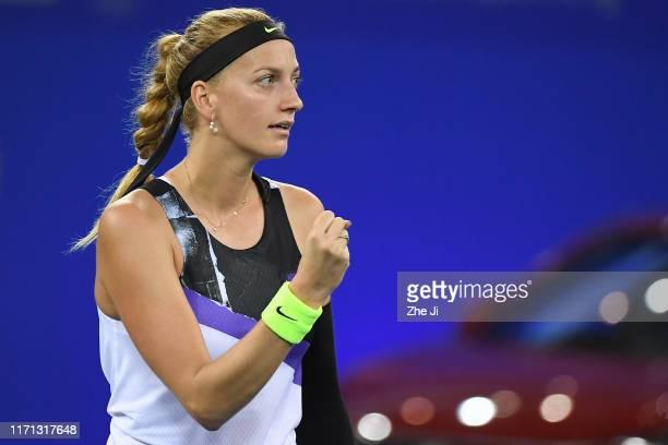Petra Kvitova of Czech Republic celebrates after winning the match against Dayana Yastremska of the Ukraine on Day 5 of 2019 Dongfeng Motor Wuhan...