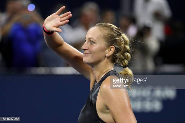 Petra Kvitova of Czech Republic celebrates defeating Alize Cornet of France during their second round Women's Singles match on Day Three of the 2017...