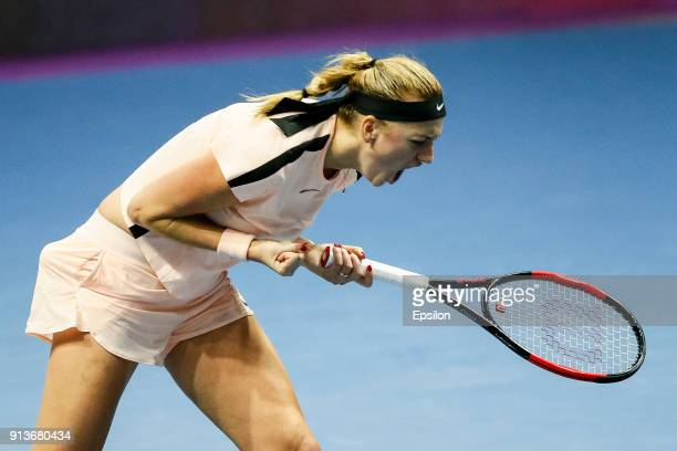 Petra Kvitova of Czech Republic celebrates during her St Petersburg Ladies Trophy 2018 semifinal tennis match against Julia Goerges of Germany on...