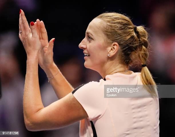 Petra Kvitova of Czech Republic celebrates during her St Petersburg Ladies Trophy 2018 final tennis match against Kristina Mladenovic of France on...