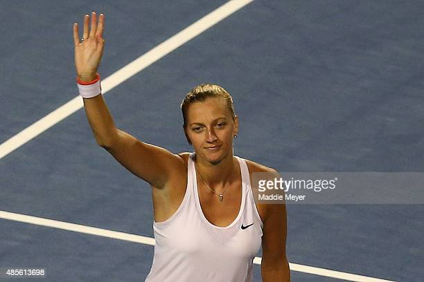 Petra Kvitova of Czech Republic celebrates her win over Caroline Wozniaki of Denmark during the semifinal round of the Connecticut Open at...