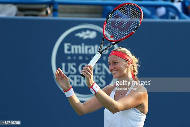 Petra Kvitova of Czech Republic celebrates her win over Lucie Safarova of Czech Republic during the final round on Day 6 of the Connecticut Open at...