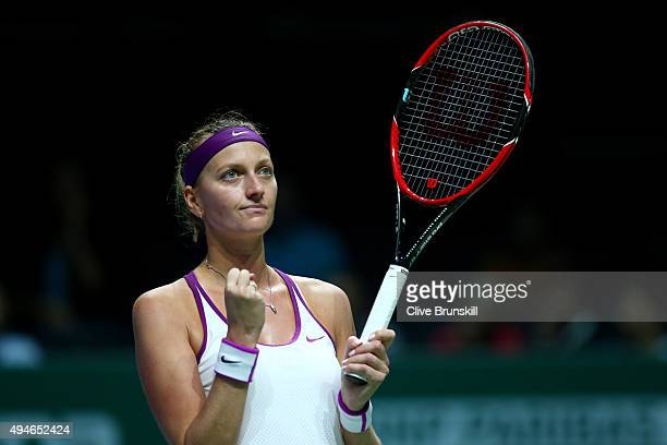 Petra Kvitova of Czech Republic celebrates match point against Lucie Safarova of Czech Republic in a round robin match during the BNP Paribas WTA...