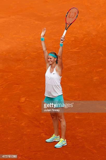 Petra Kvitova of Czech Republic celebrates match point against Svetlana Kuznetsova of Russia in the final during day eight of the Mutua Madrid Open...