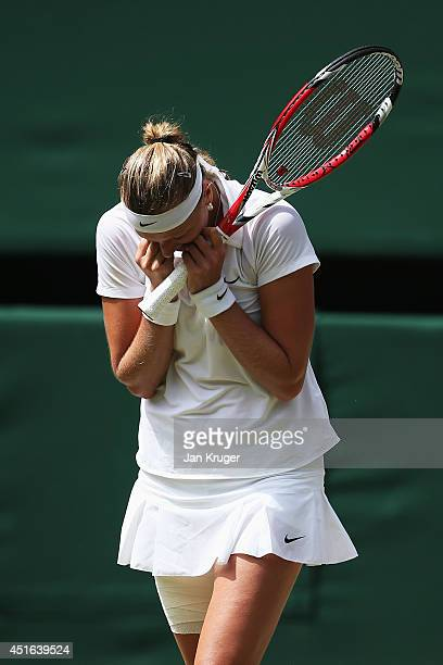 Petra Kvitova of Czech Republic celebrates match point and winning her Ladies' Singles semifinal match against Lucie Safarova of Czech Republic on...