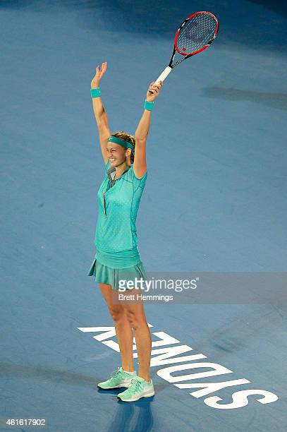 Petra Kvitova of Czech Republic celebrates victory in her finals match against Karolina Pliskova of Czech Republic during day six of the 2015 Sydney...