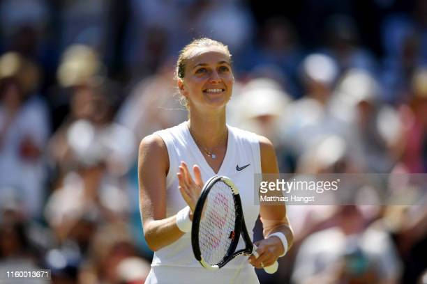 Petra Kvitova of Czech Republic celebrates victory in her Ladies' Singles second round match against Kristina Mladenovic of France during Day four of...