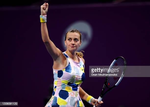 Petra Kvitova of Czech Republic celebrates winning a point against Ons Jabeur of Tunisia during Day 5 of the WTA Qatar Total Open 2020 at Khalifa...