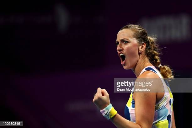 Petra Kvitova of Czech Republic celebrates winning a point against Ashleigh Barty of Australia during Day 6 of the WTA Qatar Total Open 2020 at...