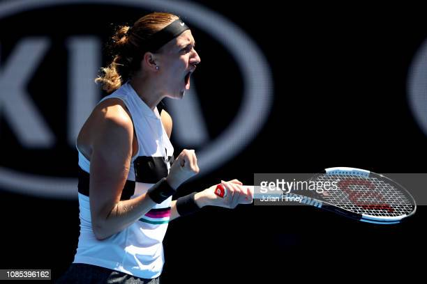 Petra Kvitova of Czech Republic celebrates winning a point in her fourth round match against Amanda Anisimova of the United States during day seven...