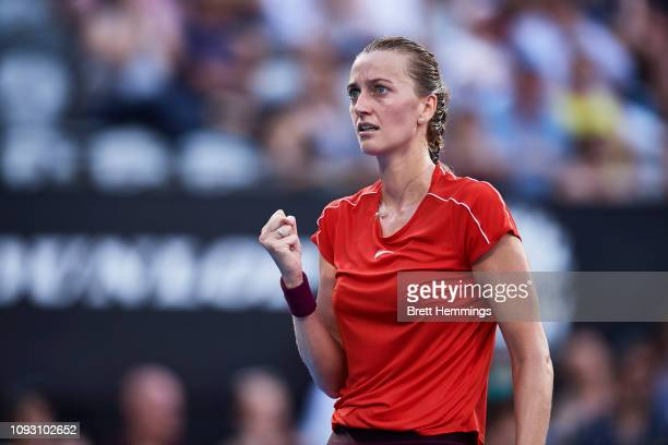 Petra Kvitova of Czech Republic celebrates winning a point in her Womens Finals match against Ashleigh Barty of Australia during day seven of the...