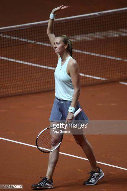 Petra Kvitova of Czech Republic celebrates winning her semifinal match against Kiki Bertens of Netherlands on day 6 of the Porsche Tennis Grand Prix...