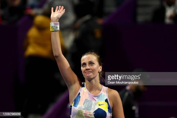 Petra Kvitova of Czech Republic celebrates winning match point against Ashleigh Barty of Australia in their semi final during Day 6 of the WTA Qatar...