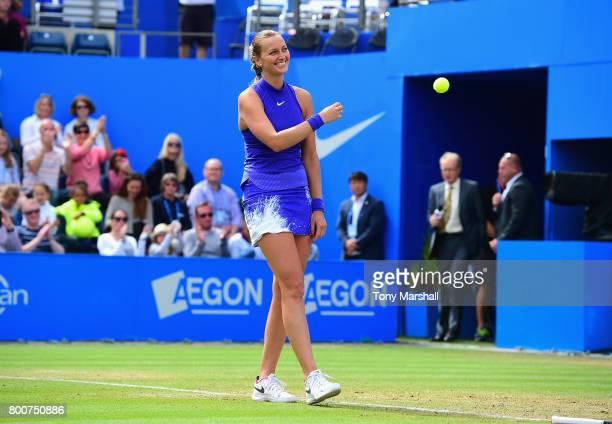 Petra Kvitova of Czech Republic celebrates winning the Aegon Classic Birmingham Final at Edgbaston Priory Club on June 25 2017 in Birmingham England