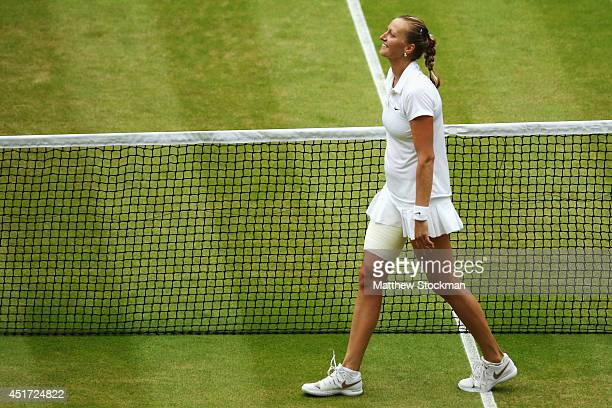 Petra Kvitova of Czech Republic celebrates winning the Ladies' Singles final match against Eugenie Bouchard of Canada on day twelve of the Wimbledon...